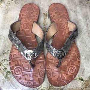 Tory Burch Gunmetal Silver Snakeskin Flip Flops